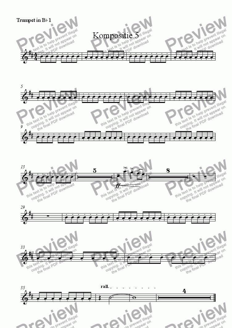 page one of the Trumpet in B^b 1 part from Kompositie 5