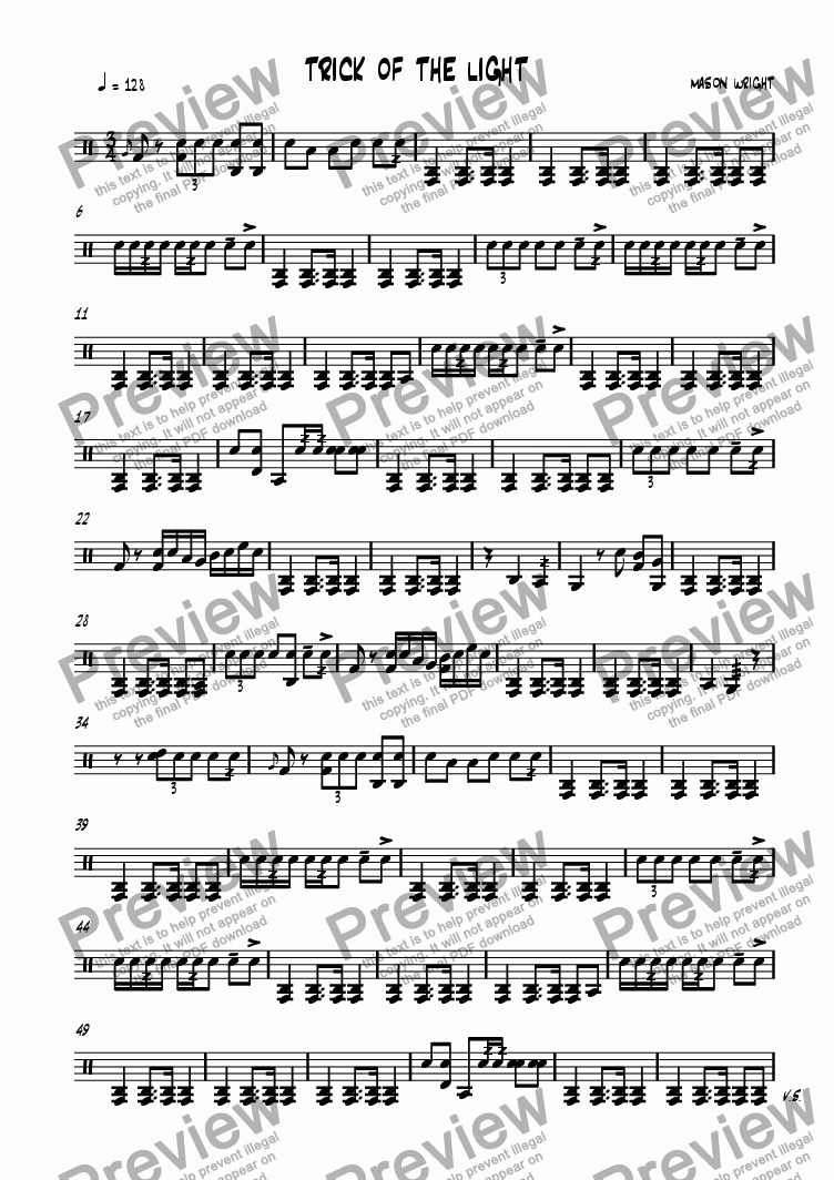 page one of the Drums part from Trick of the Light