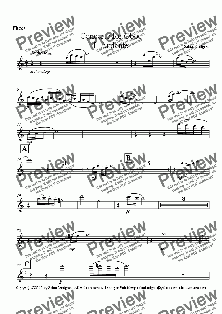 page one of the Flutes part from Concerto for Oboe, I. Andante, for Solo Oboe with Orchestra