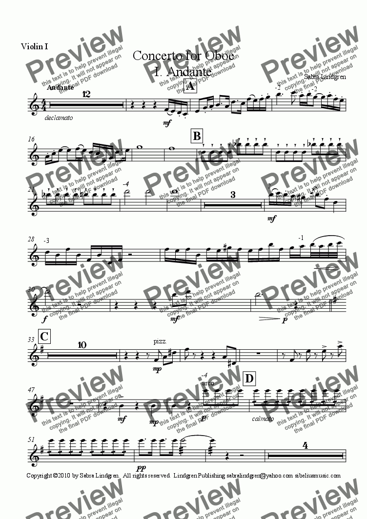 page one of the Violin I part from Concerto for Oboe, I. Andante, for Solo Oboe with Orchestra