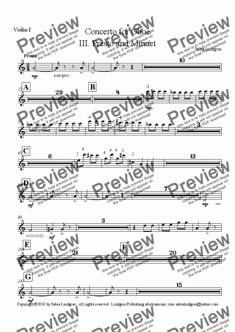 page one of the Violin I part from Concerto for Oboe, III. Presto and Minuet, for Solo Oboe with Orchestra