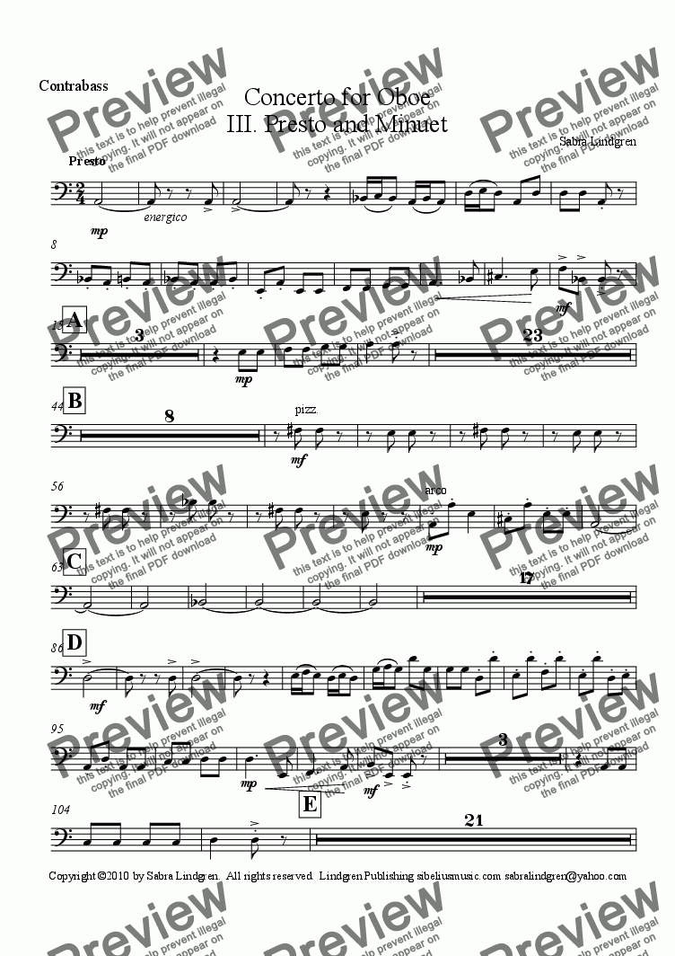 page one of the Contrabass part from Concerto for Oboe, III. Presto and Minuet, for Solo Oboe with Orchestra