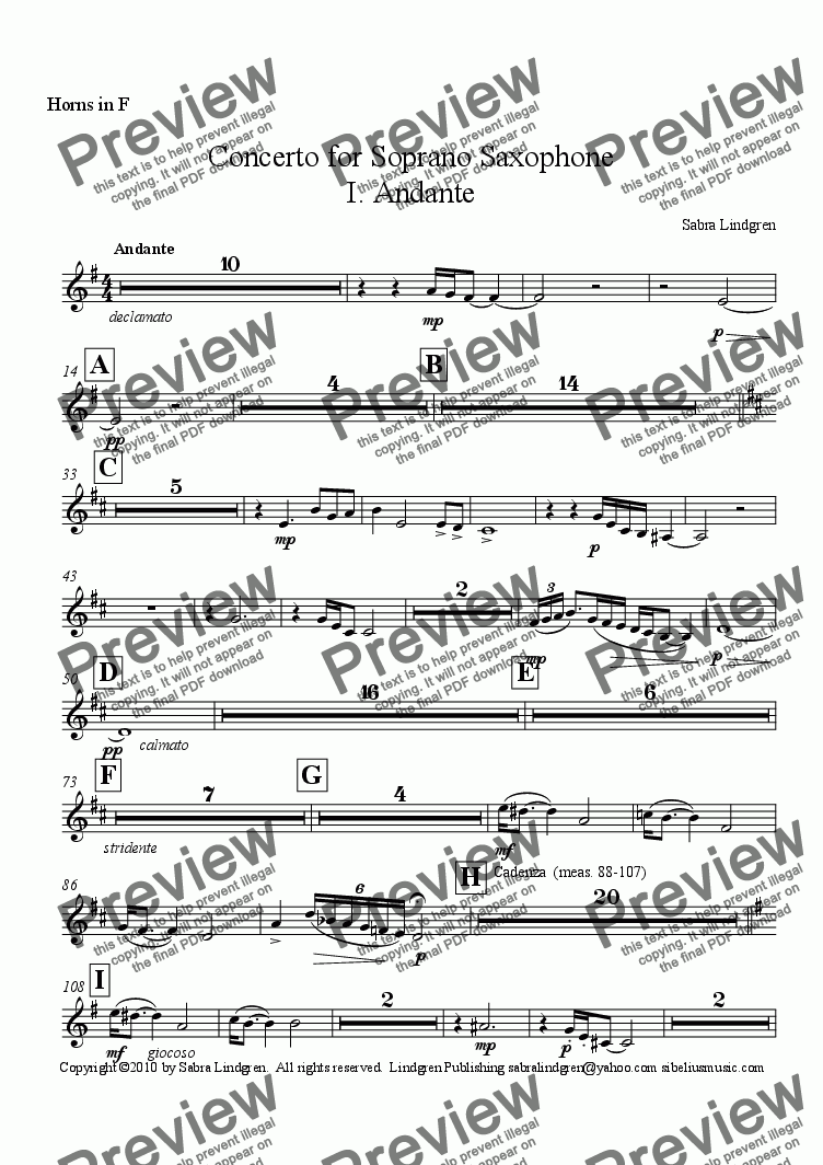 page one of the Horns in F part from Concerto for Soprano Saxophone, I. Andante, for Solo Soprano Saxophone with Orchestra