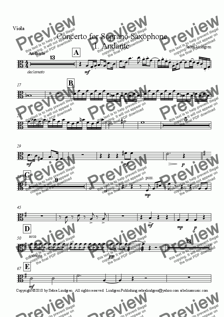 page one of the Viola part from Concerto for Soprano Saxophone, I. Andante, for Solo Soprano Saxophone with Orchestra