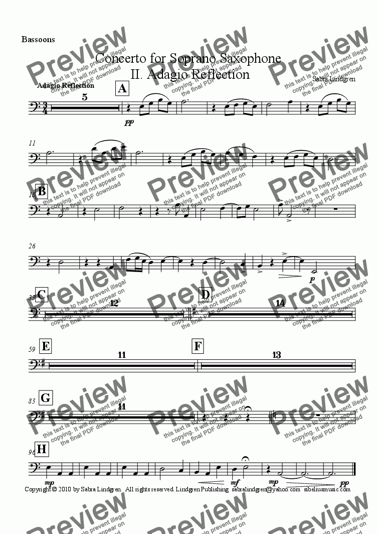 page one of the Bassoons part from Concerto for Soprano Saxophone, II. Adagio Reflection, for Solo Soprano Saxophone with Orchestra
