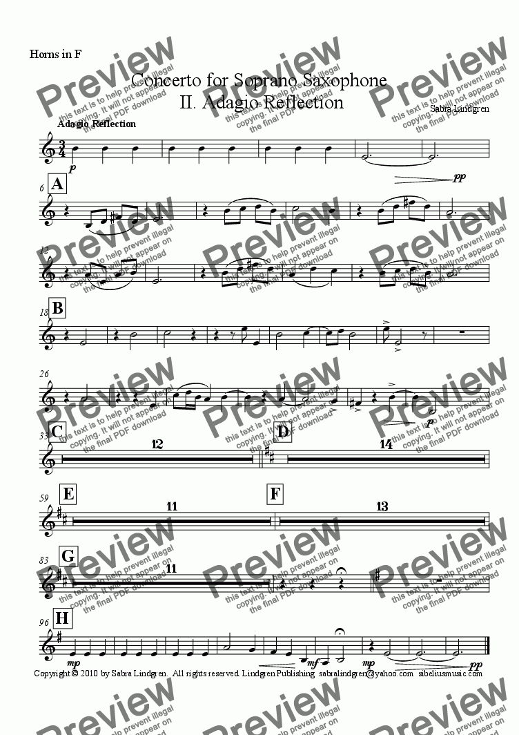 page one of the Horns in F part from Concerto for Soprano Saxophone, II. Adagio Reflection, for Solo Soprano Saxophone with Orchestra