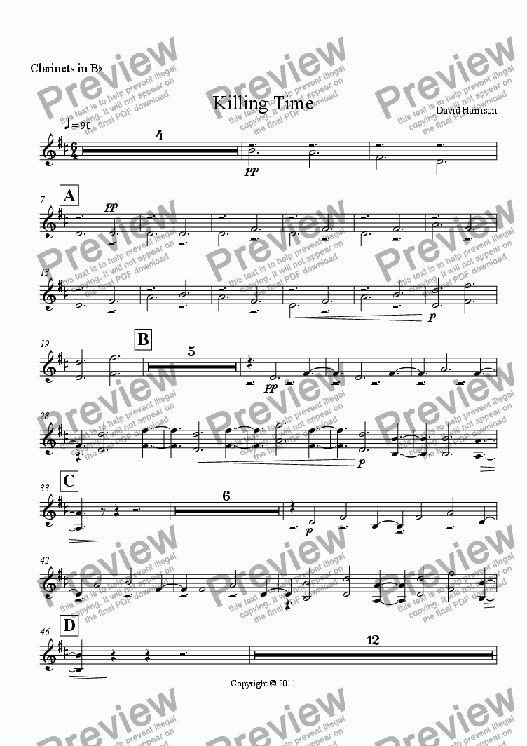 page one of the Clarinets in B^b part from Killing Time for Orchestra