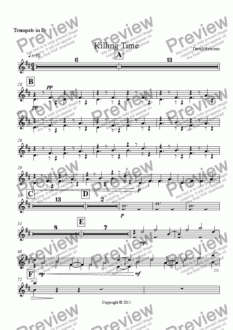 page one of the Trumpets in B^b part from Killing Time for Orchestra