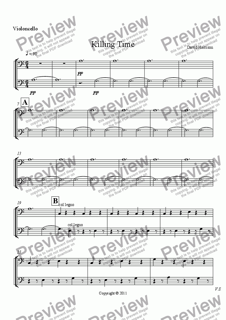 page one of the Violoncello part from Killing Time for Orchestra