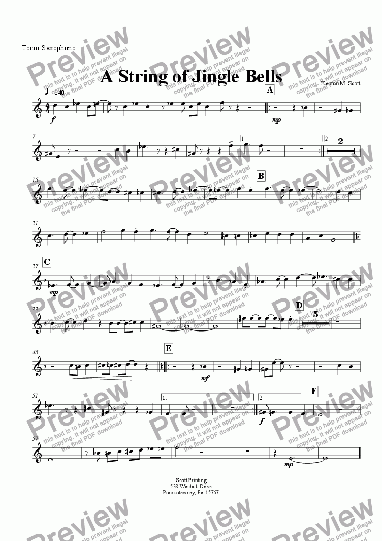 page one of the Tenor Sax part from A String of Jingle Bells