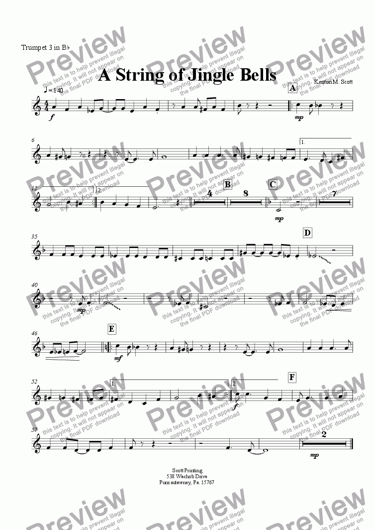 page one of the 3rd Trumpet part from A String of Jingle Bells