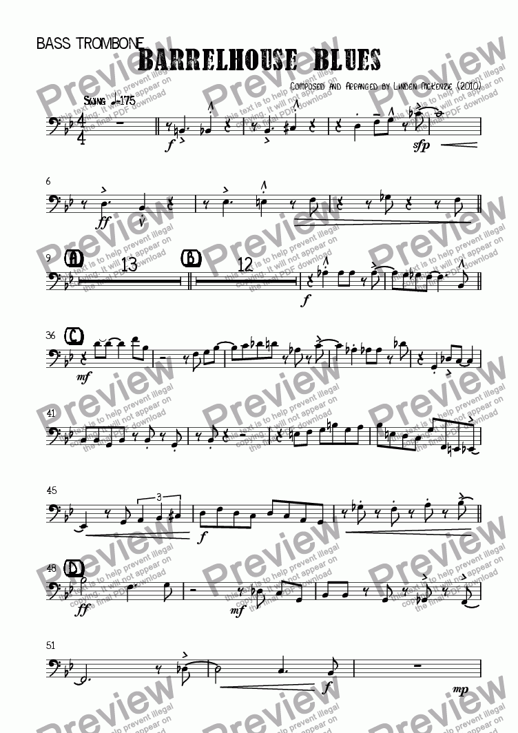 page one of the Bass Trombone part from Barrelhouse Blues