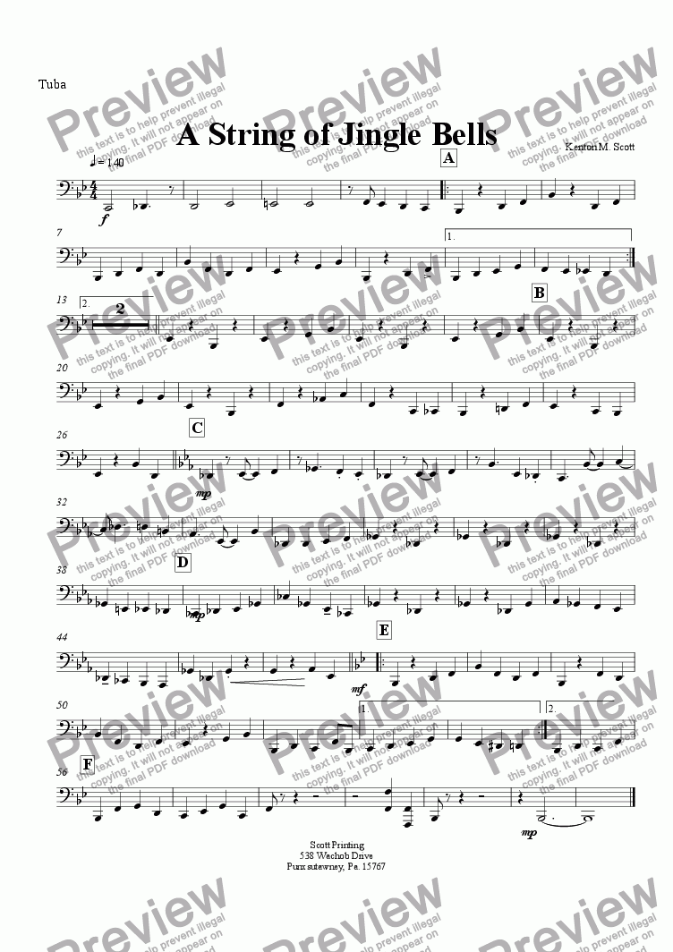 page one of the Tuba part from A String of Jingle Bells