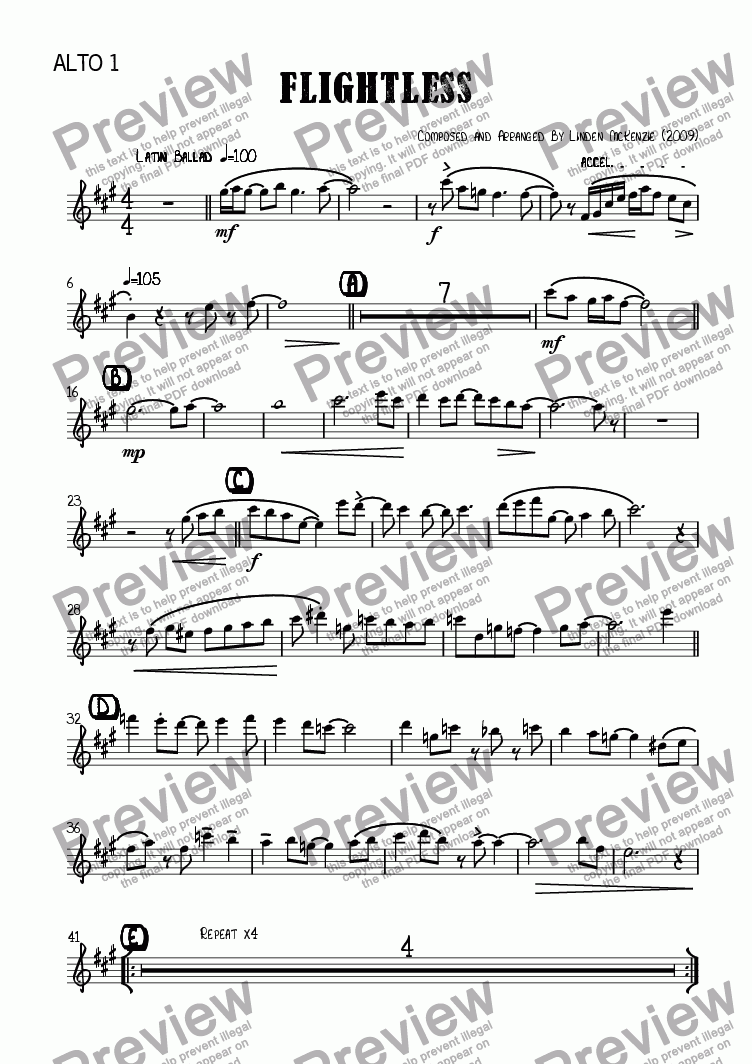 page one of the Alto 1 part from Flightless