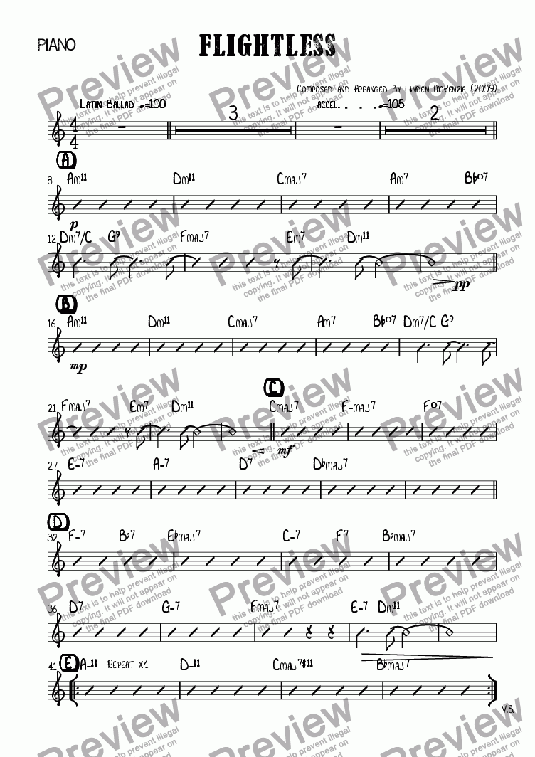page one of the Piano part from Flightless