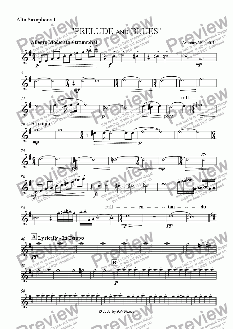 page one of the Alto Saxophone 1 part from Prelude and Blues (Euphonium & Concert Band)