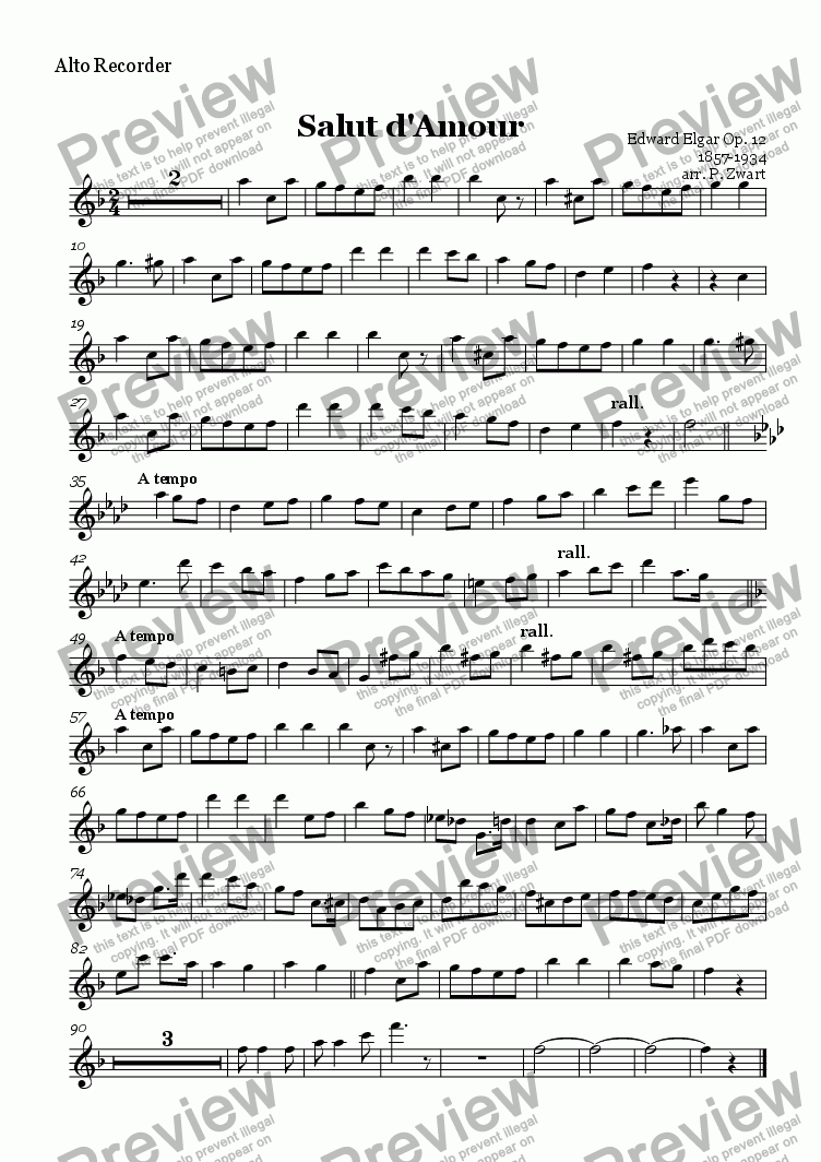 page one of the Alto Recorder part from Salut d'Amour (Elgar)