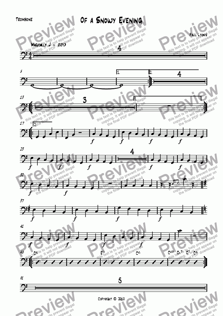 page one of the Trombone part from Of a Snowy Evening