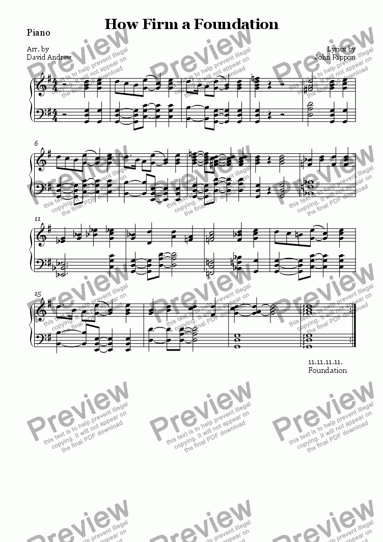 page one of the Piano part from How Firm a Foundation