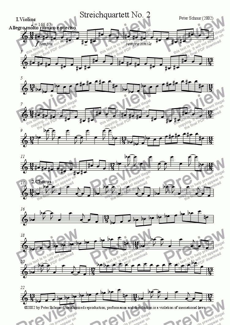 page one of the 1st Violin part from Stringquartet No. 2