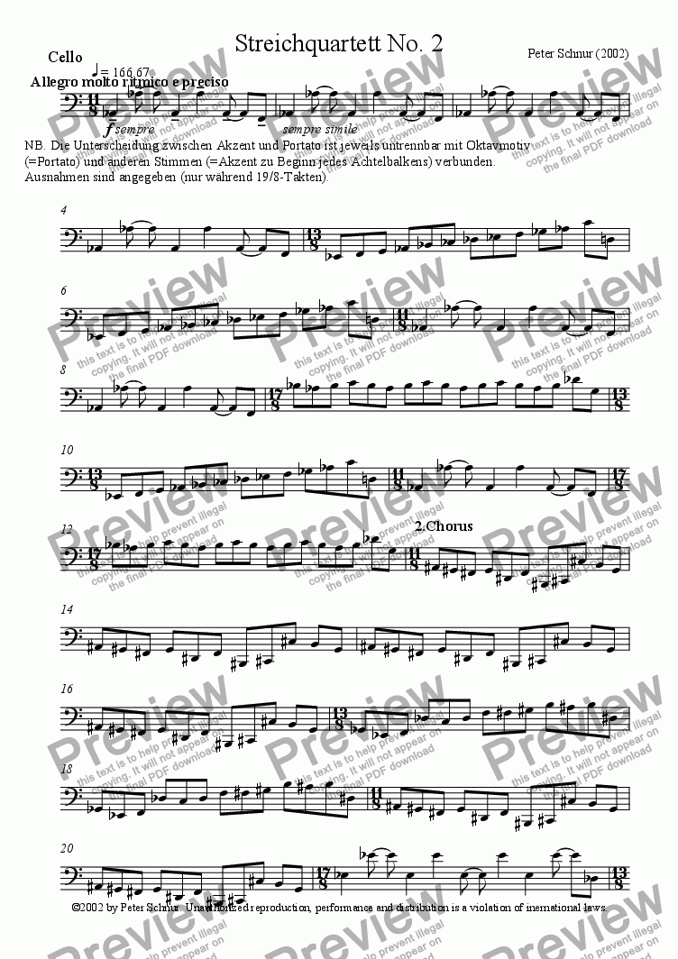 page one of the Cello part from Stringquartet No. 2