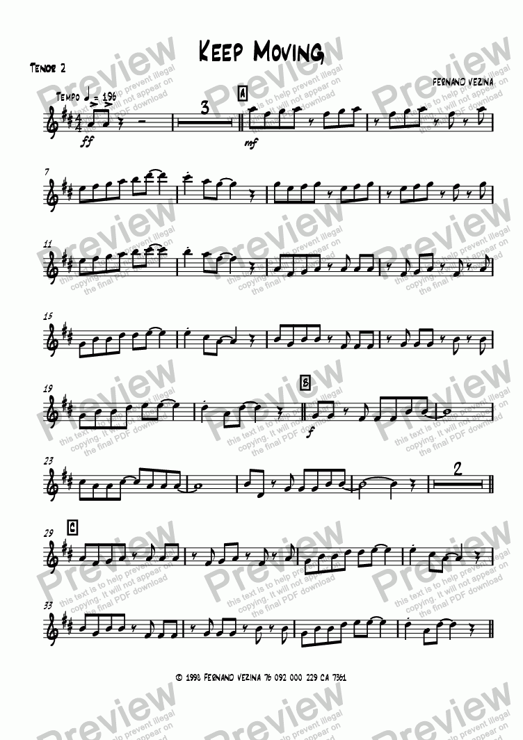 page one of the Tenor 2 part from Keep Moving