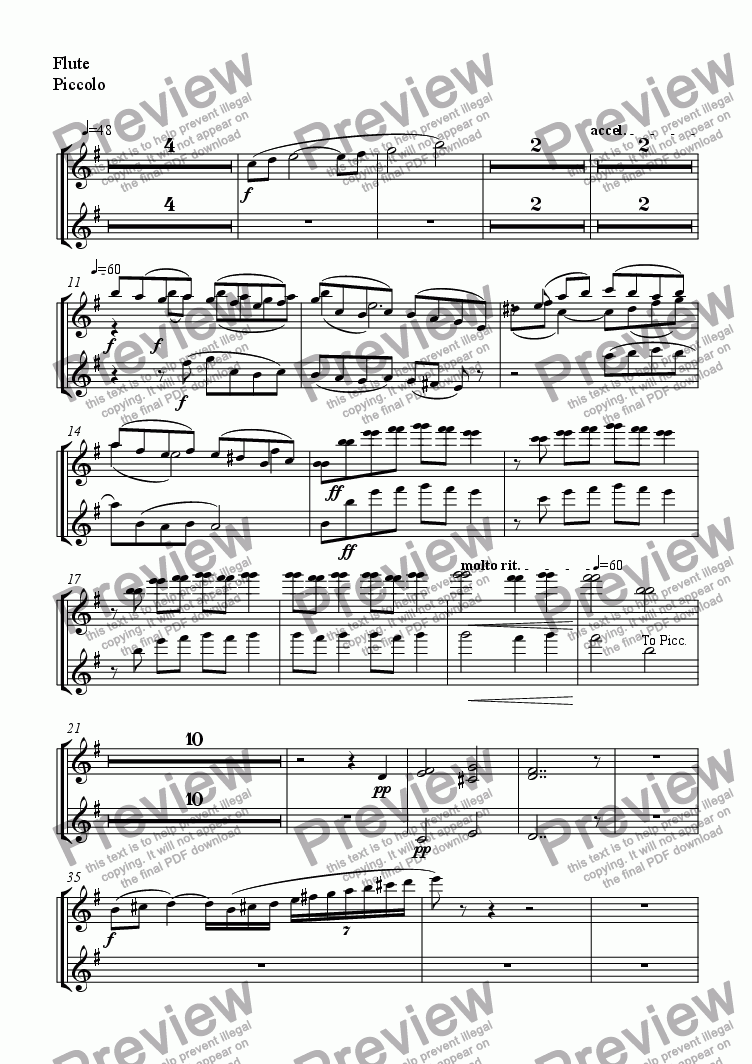 page one of the Flute, Piccolo part from untitled