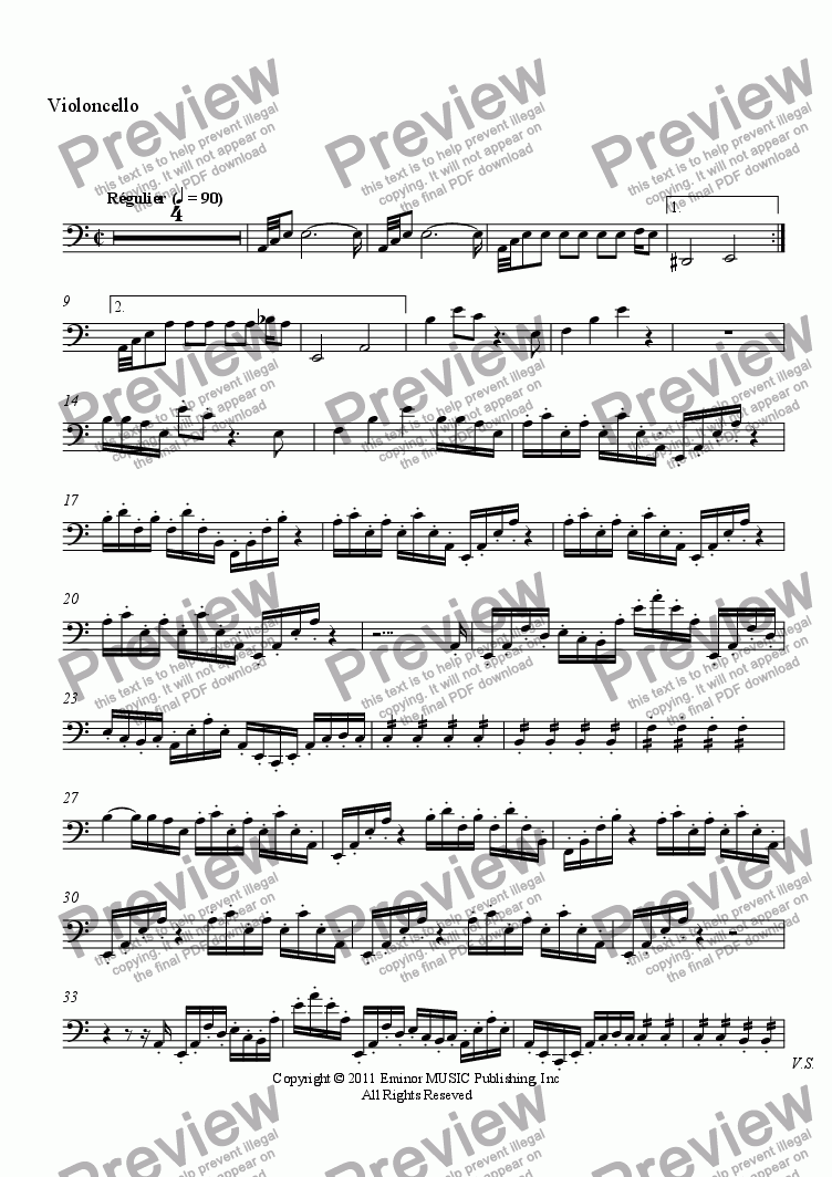 page one of the Violoncello part from Progression