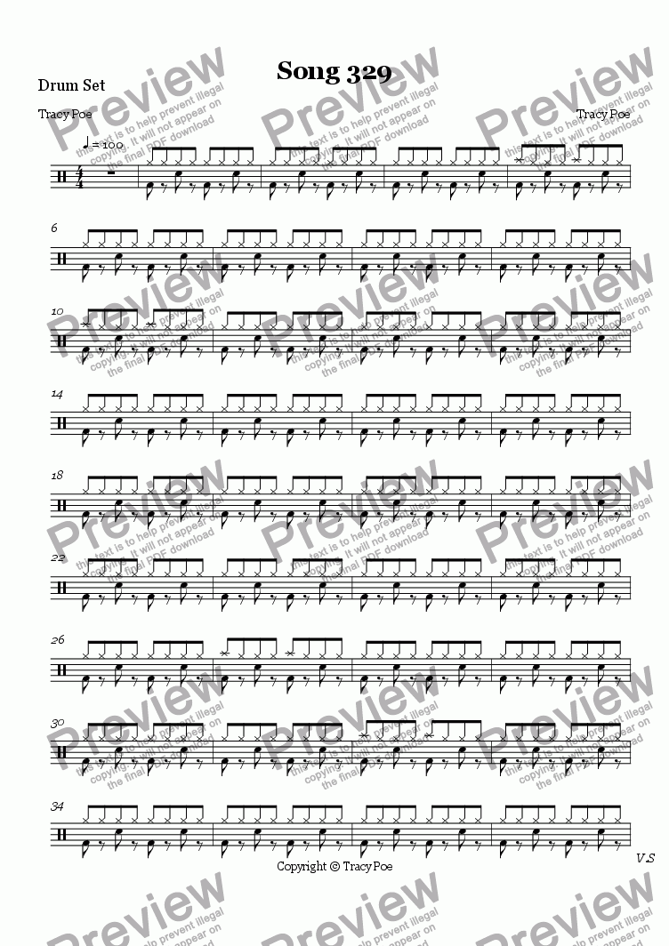 page one of the Drum Set part from Song 340 I was Blind