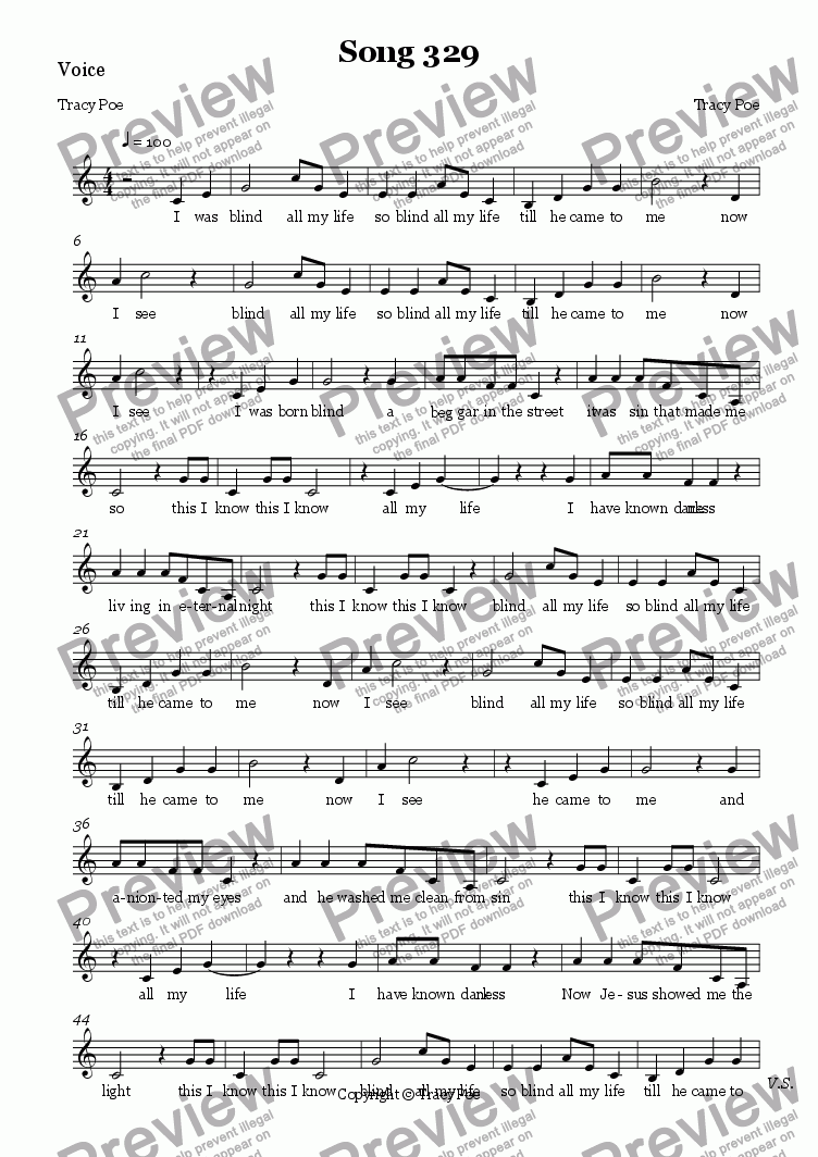 page one of the Voice part from Song 340 I was Blind