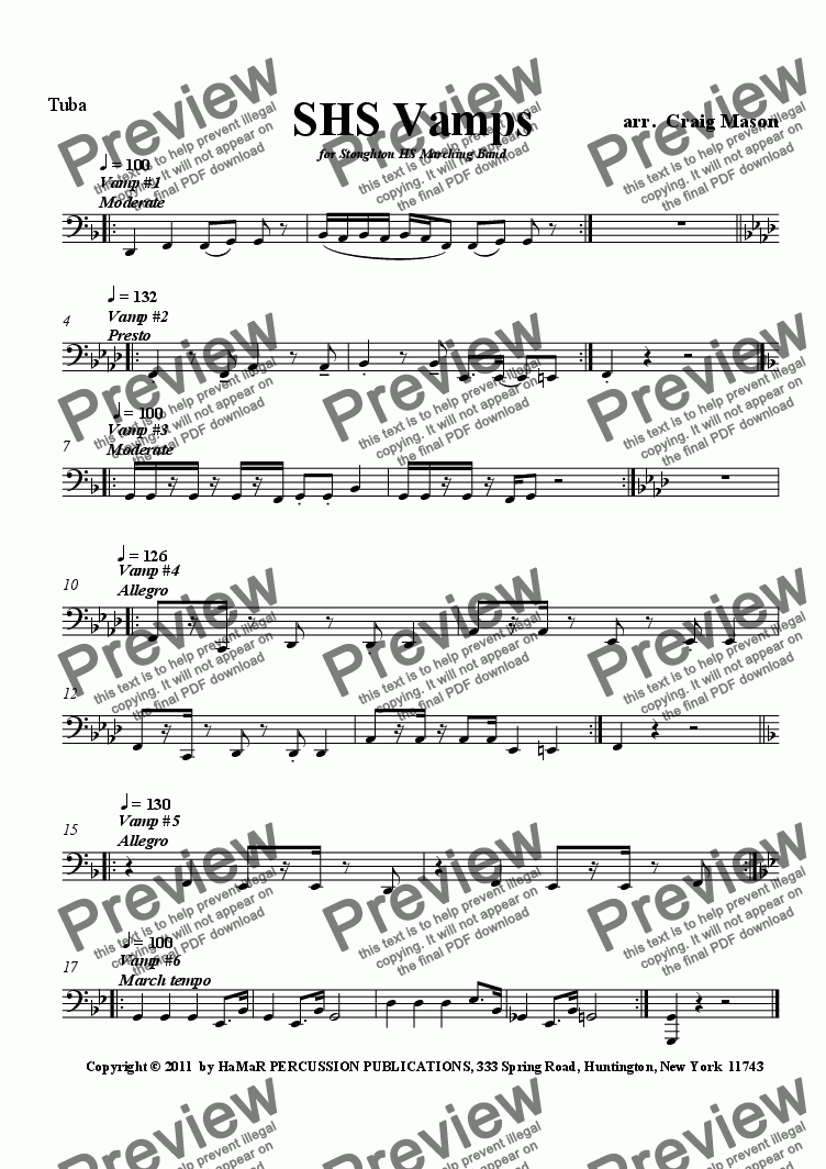 page one of the Tuba part from SHS Vamps