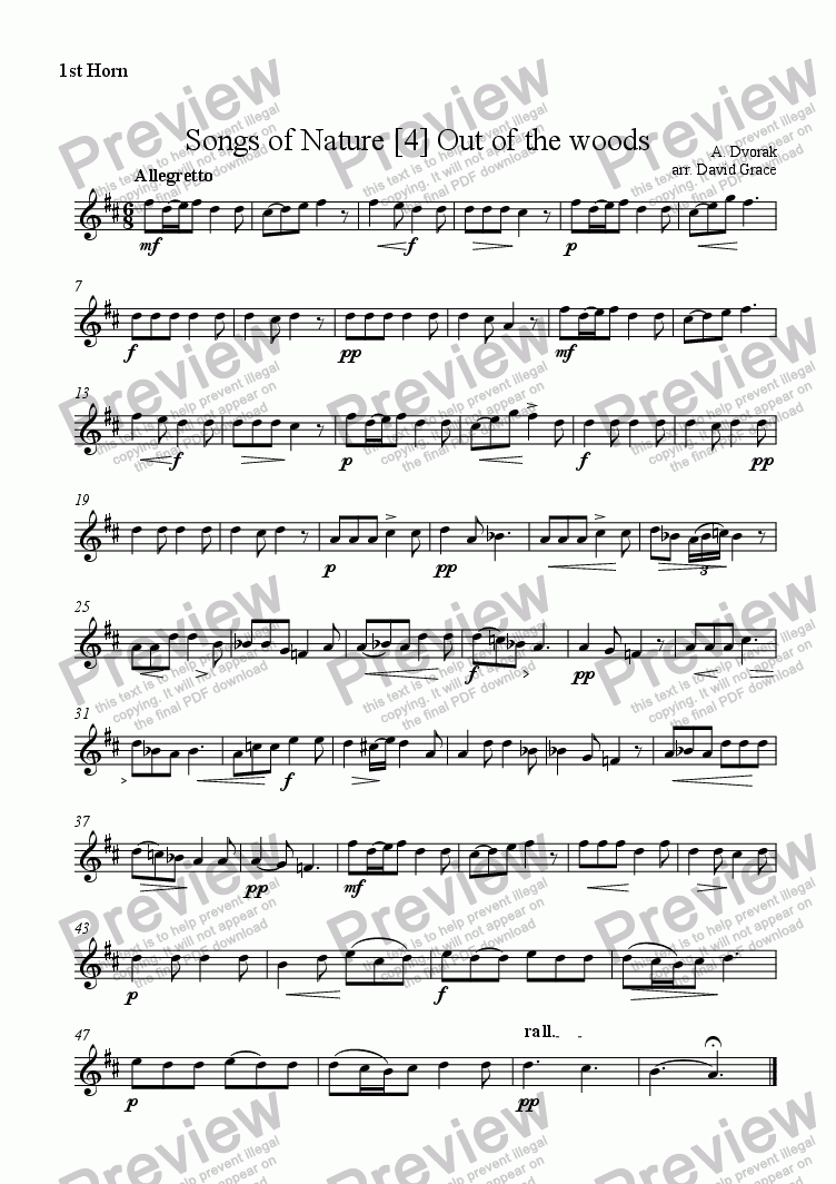 page one of the 1st Horn part from Dvorak: Songs of Nature [4]
