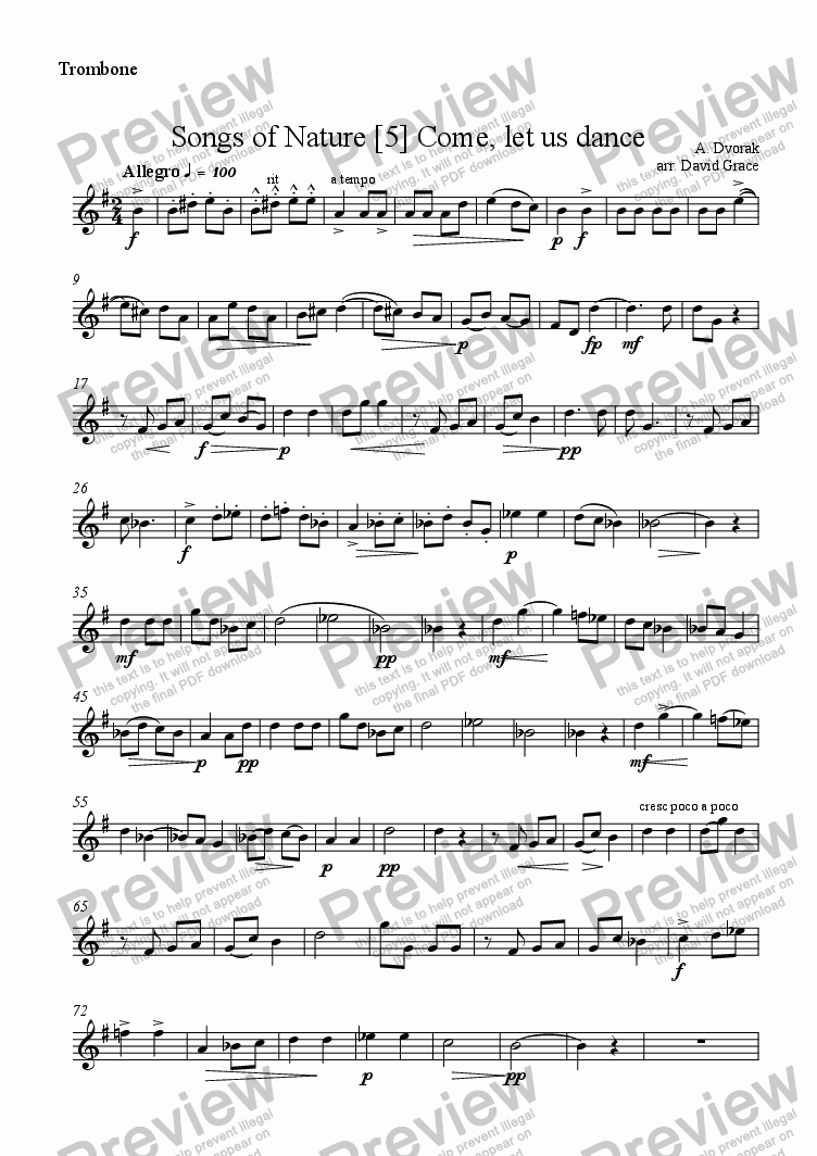 page one of the Trombone part from Dvorak; Songs of Nature [5]
