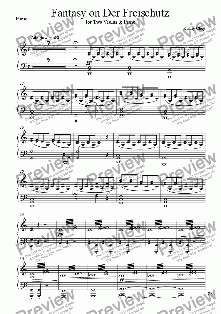 page one of the Piano part from Fantasy on Der Freischutz for 2 Violas & Piano