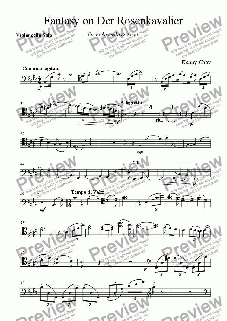 page one of the Violoncello Solo part from Fantasy on Der Rosenkavalier for Cello & Piano