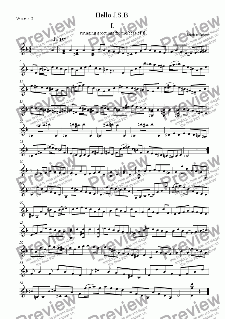 page one of the Violine 2 part from Hello J.S.B.