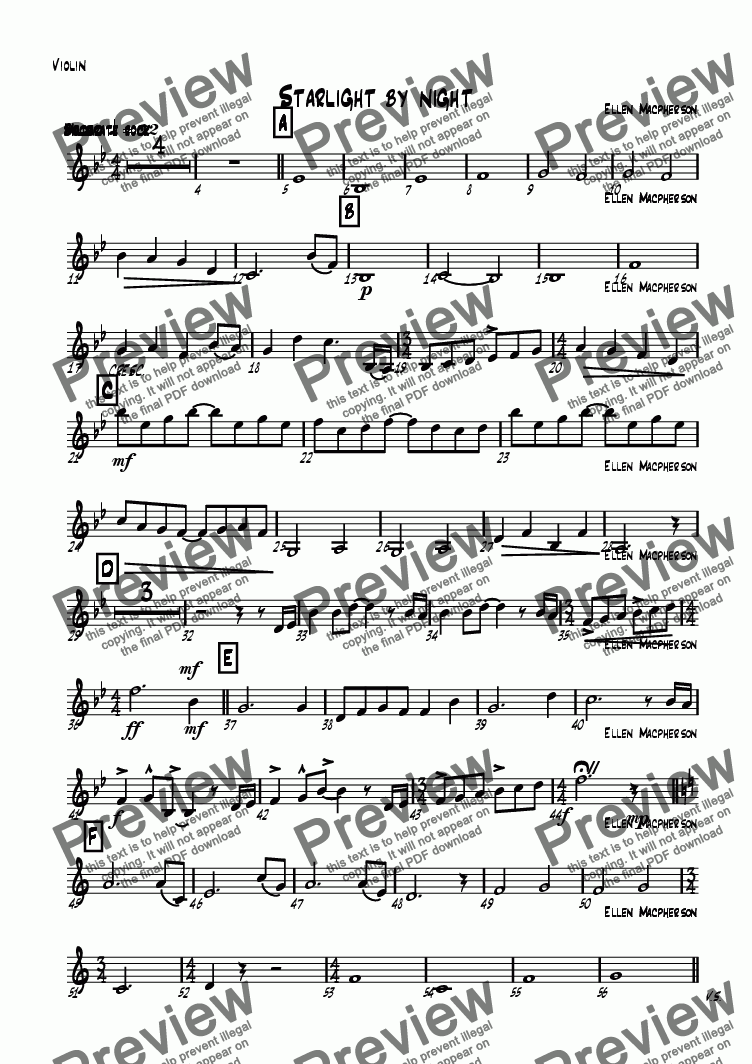 page one of the Violin part from Starlight by night