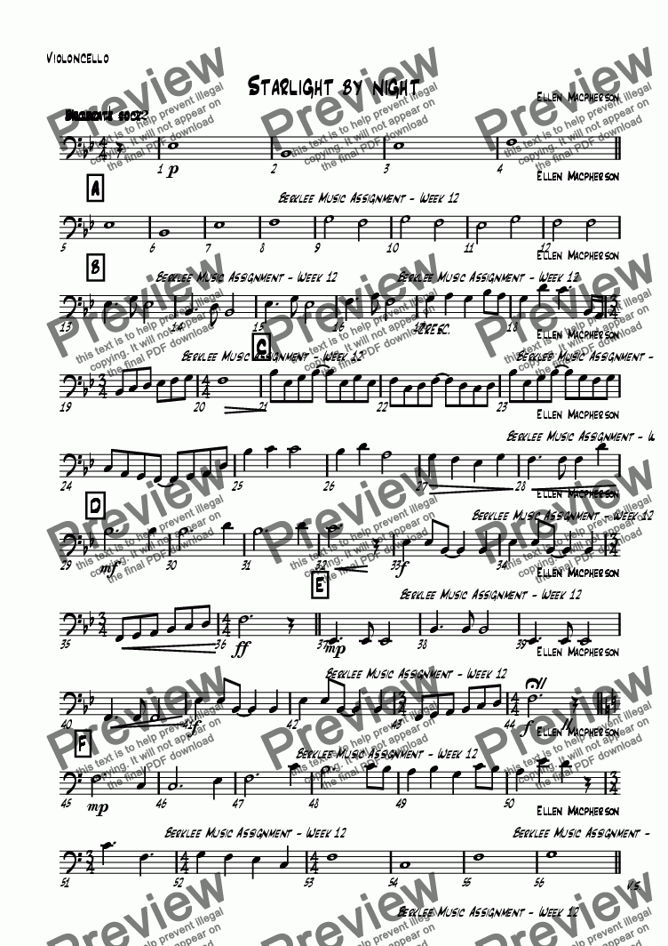 page one of the Violoncello part from Starlight by night
