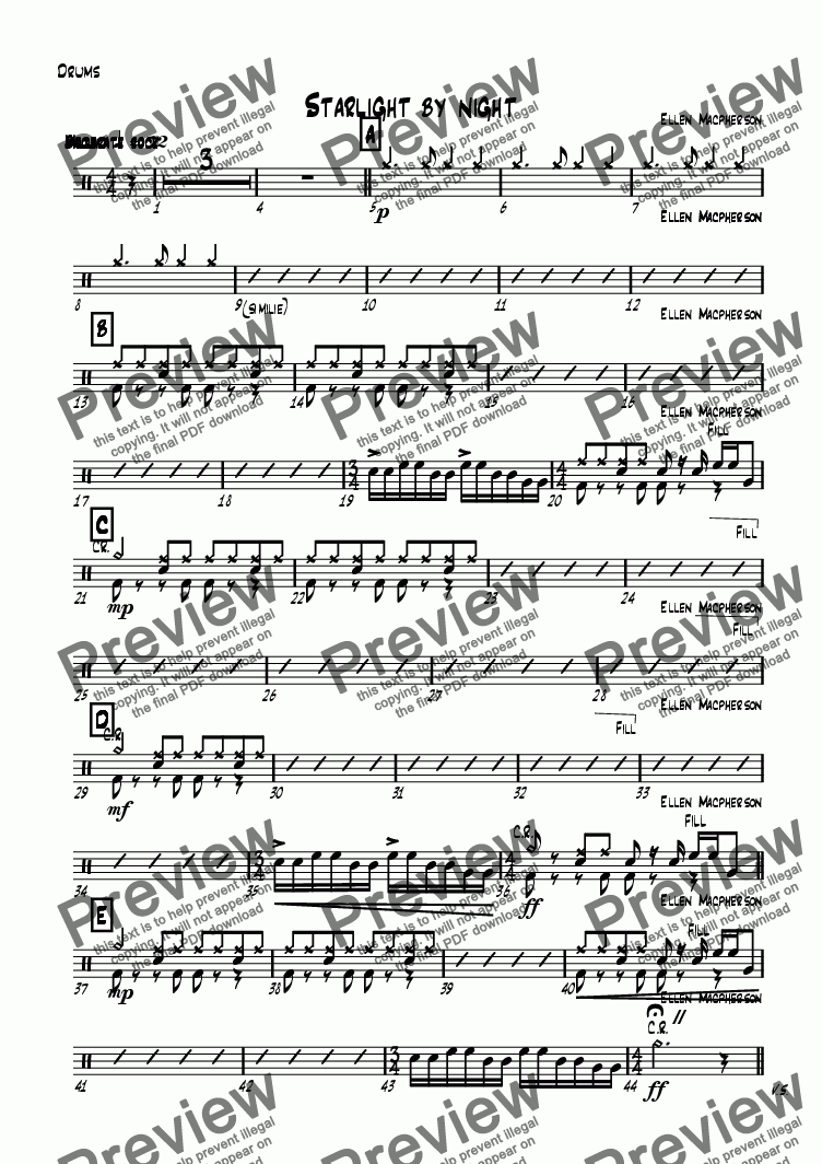 page one of the Drums part from Starlight by night