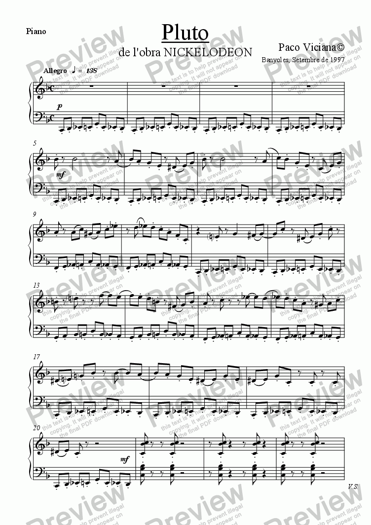 page one of the Piano part from 082-Nickelodeon (04-Pluto)-Arrangement