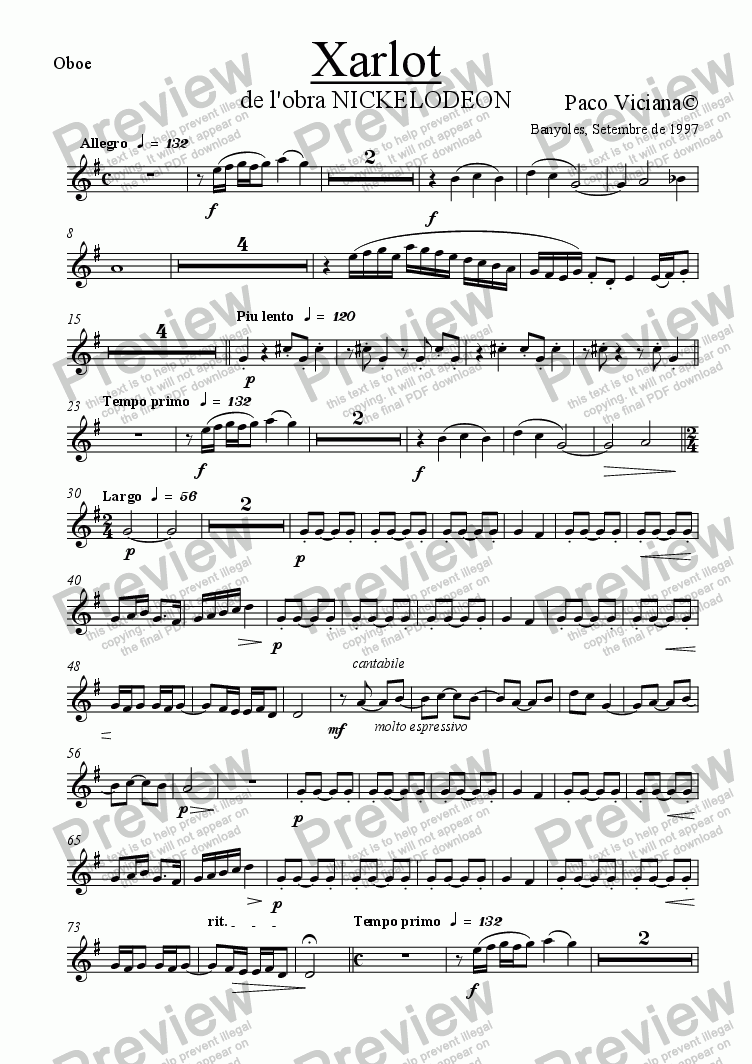 page one of the Oboe part from 082-Nickelodeon (01-Xarlot)-Arrangement
