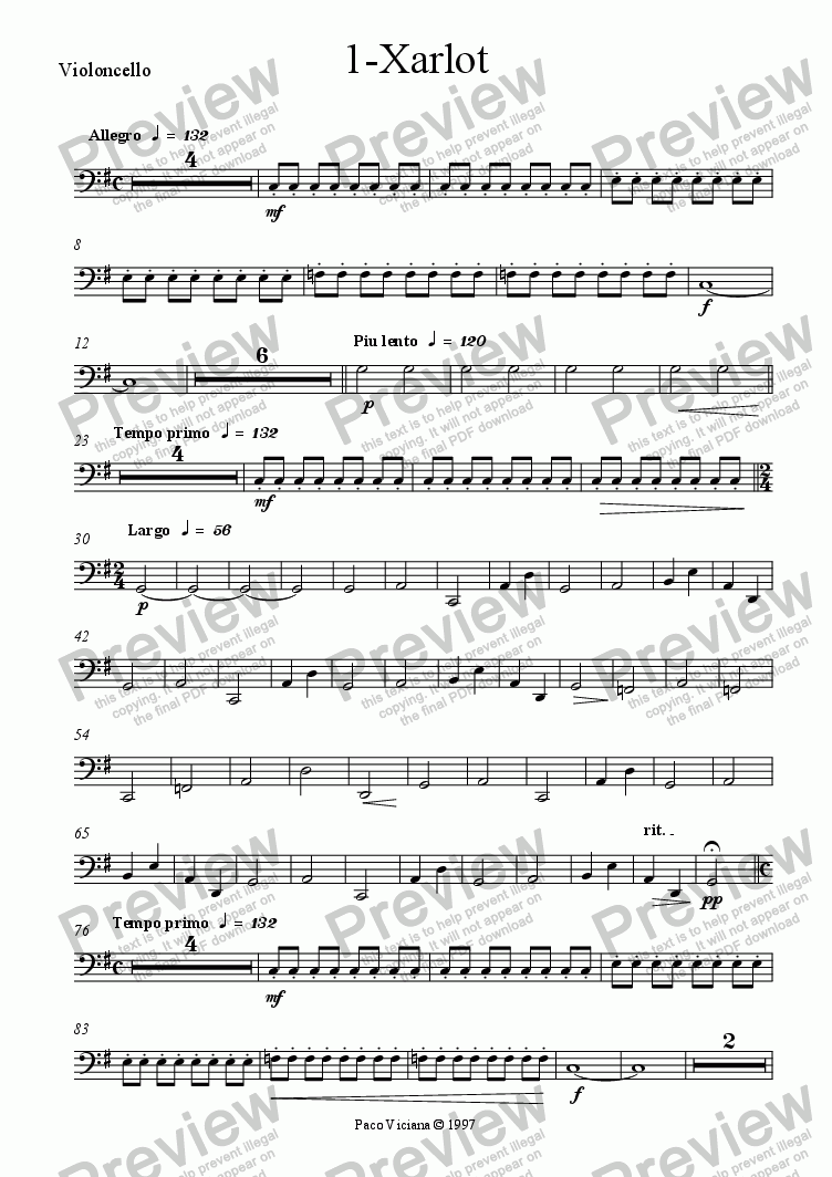 page one of the Violoncello part from 082-Nickelodeon (01-Xarlot)