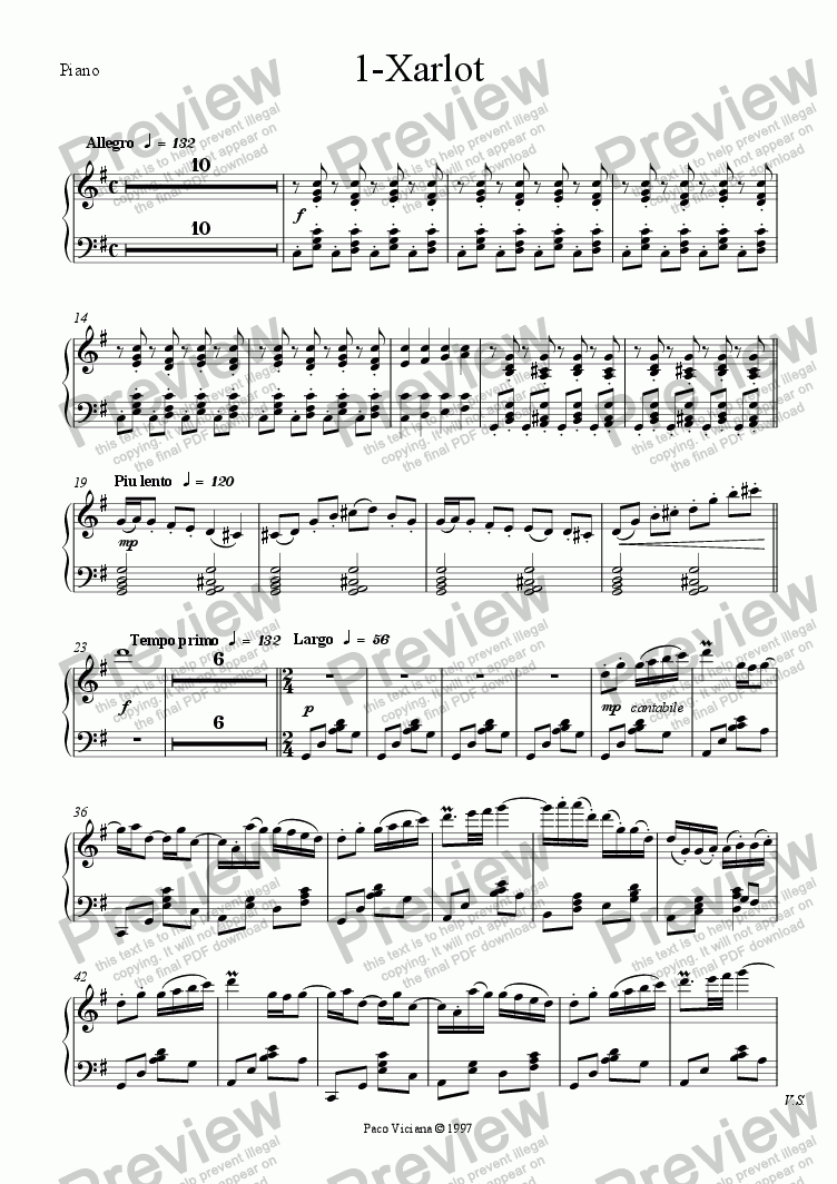 page one of the Piano part from 082-Nickelodeon (01-Xarlot)