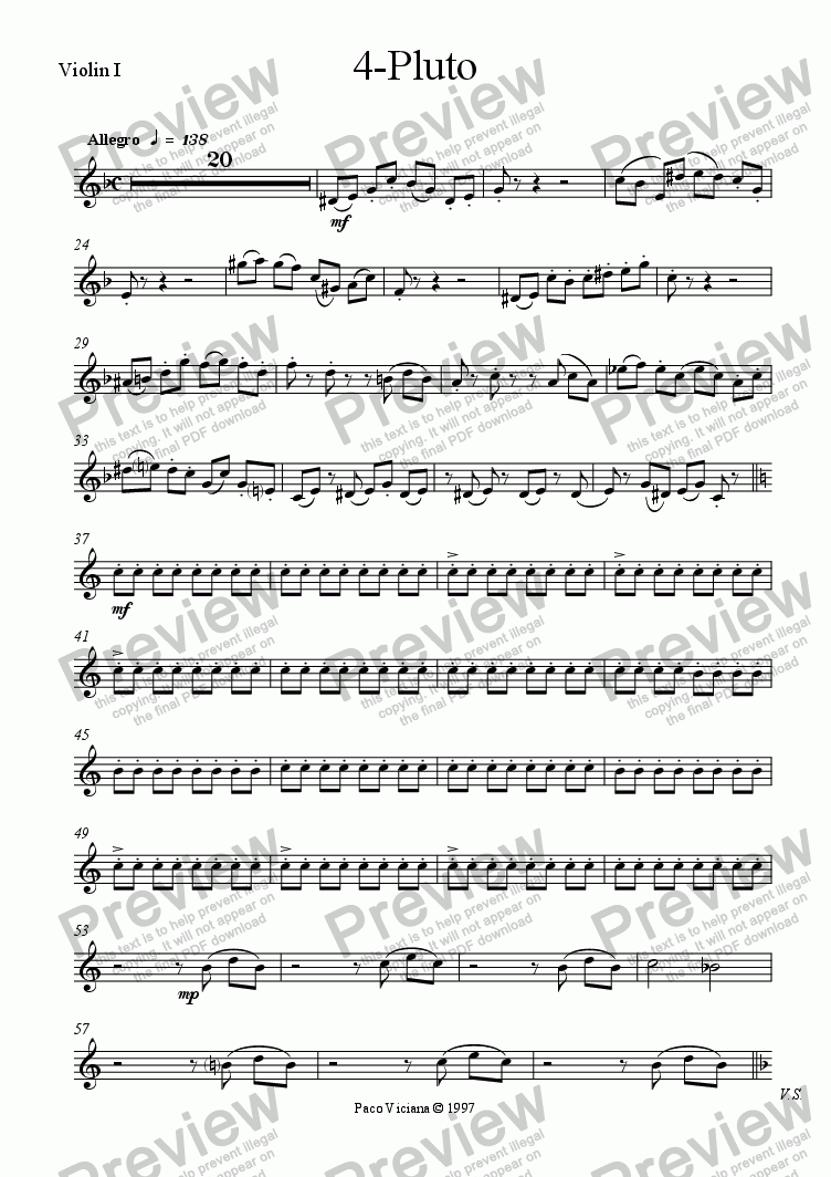 page one of the Violin I part from 082-Nickelodeon (04-Pluto)