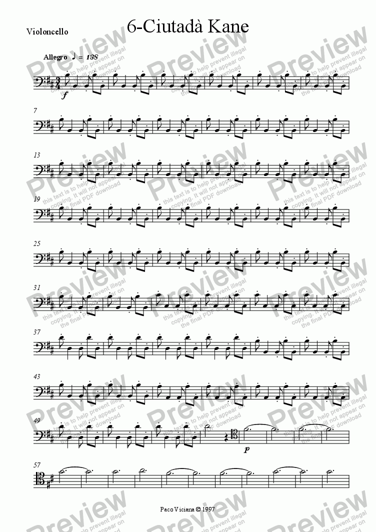 page one of the Violoncello part from 082-Nickelodeon (06-Ciutadà Kane)