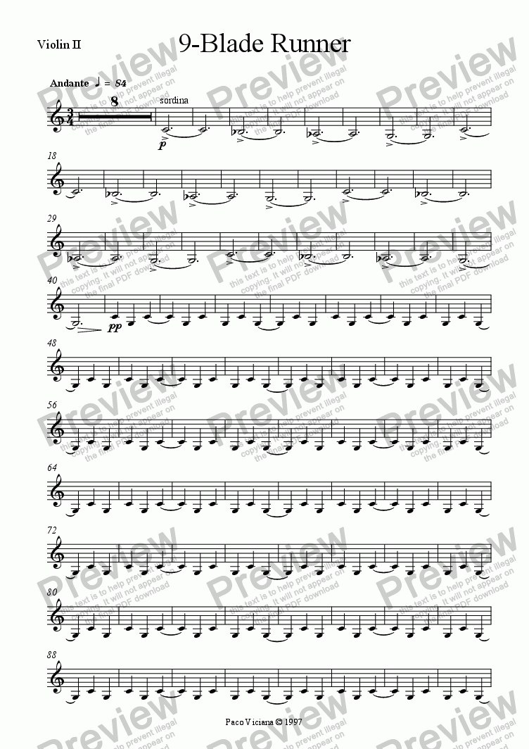 page one of the Violin II part from 082-Nickelodeon (09-Blade Runner)