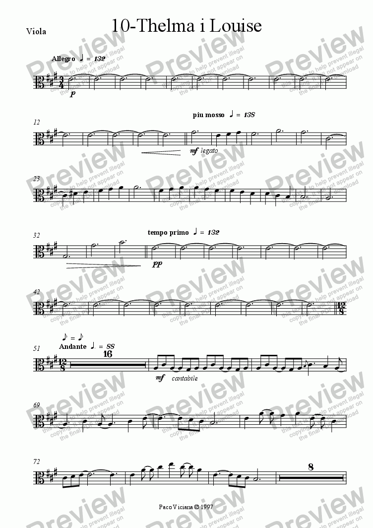 page one of the Viola part from 082-Nickelodeon (10-Thelma i Louise)
