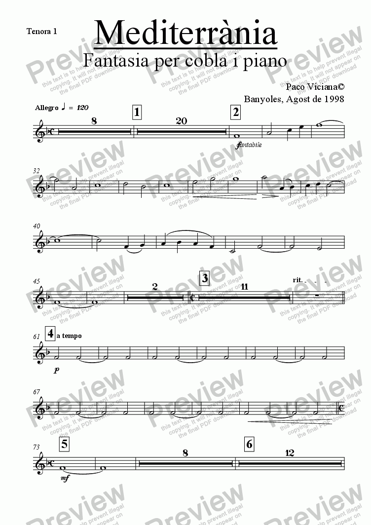 page one of the Tenora 1 part from 083-Mediterrània (cobla version)