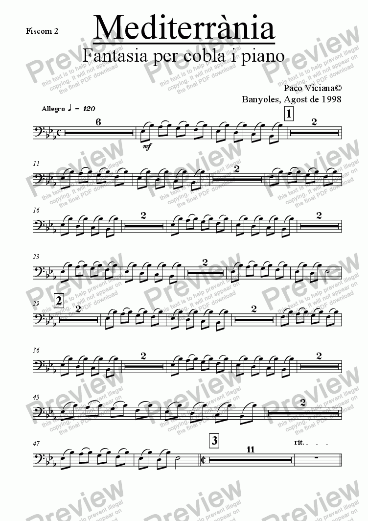 page one of the Fiscorn 2 part from 083-Mediterrània (cobla version)