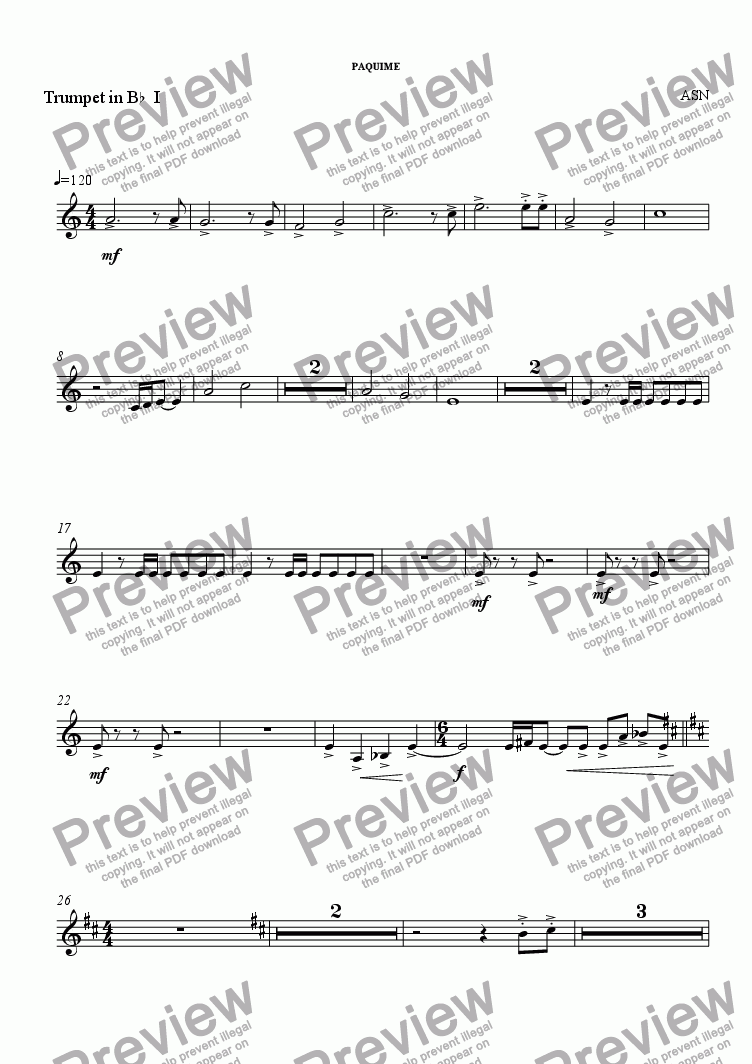 page one of the Trumpet in B^b^ I ^ part from PAQUIME